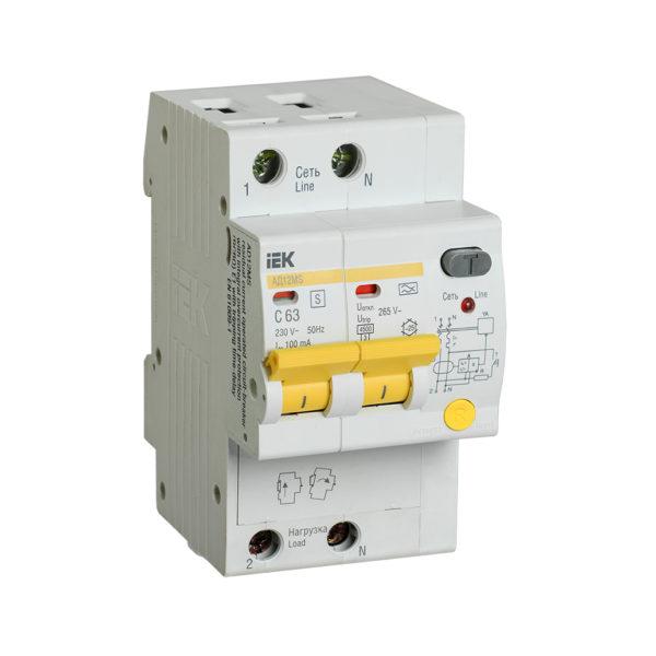 Дифференциальный автоматический выключатель АД12MS 2Р 63А 100мА IEK