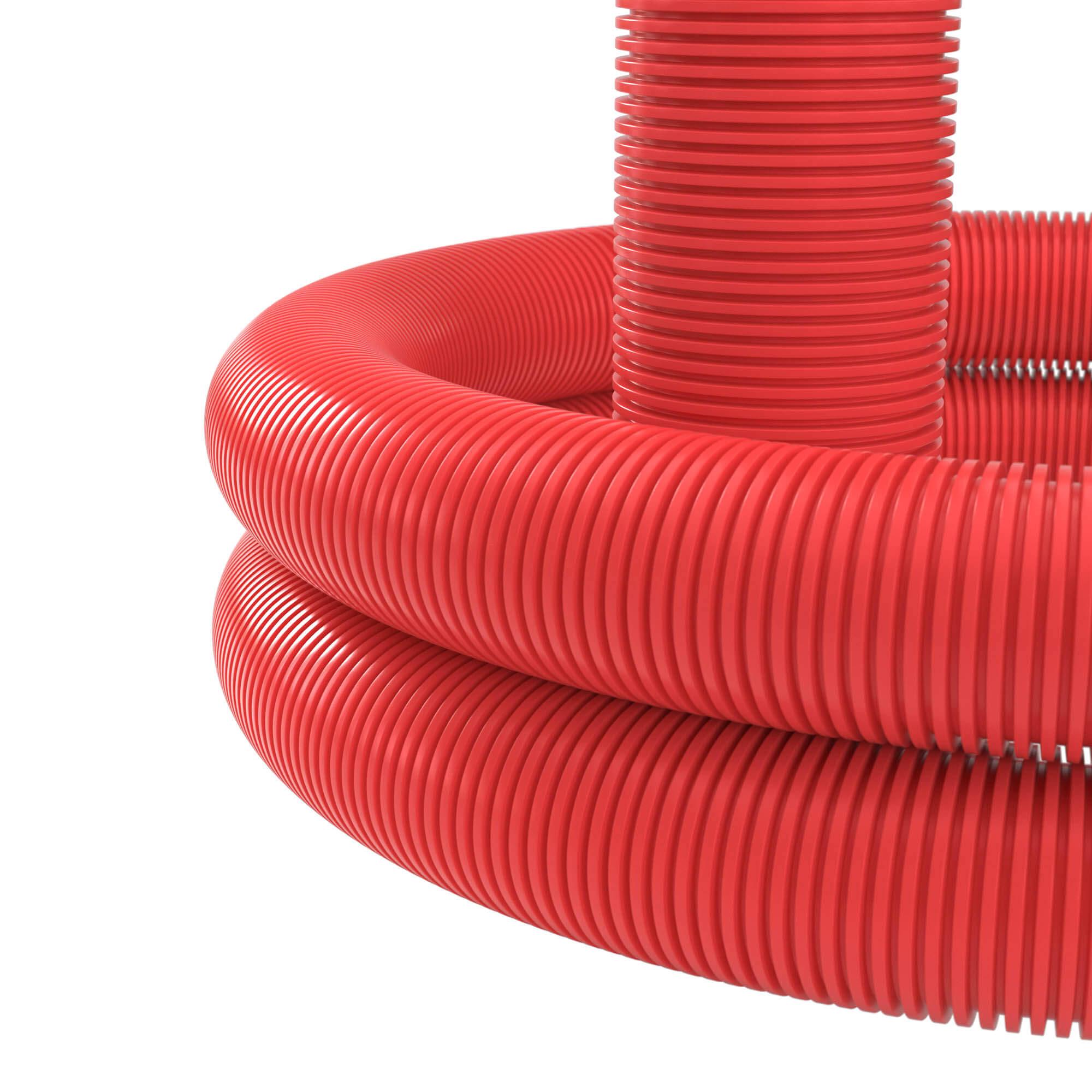 Двустенная труба ПНД гибкая для кабельной канализации d 50мм с протяжкой SN13 250Н в бухте 150м красный
