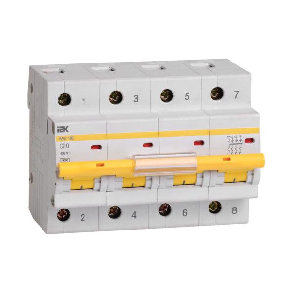 Выключатель автоматический ВА47-100 4Р 20А 10кА C IEK