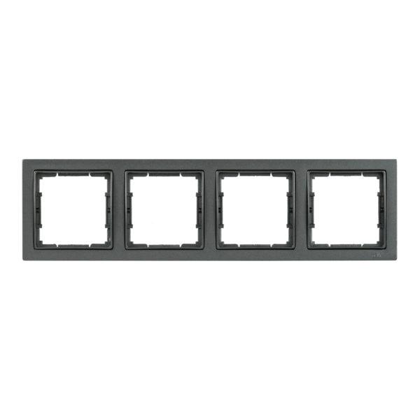 Рамка 4-местная квадратная РУ-4-БА BOLERO Q1 антрацит IEK