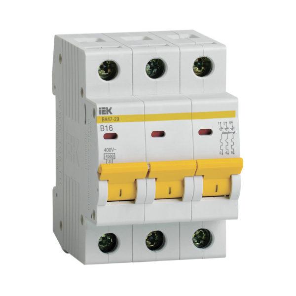 Выключатель автоматический ВА47-29 3Р 16А 4,5кА В IEK