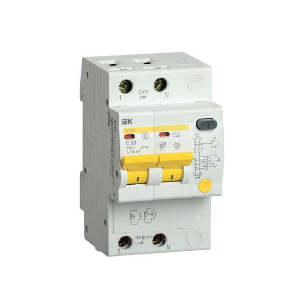 Дифференциальный автоматический выключатель АД12S 2Р 50А 100мА IEK
