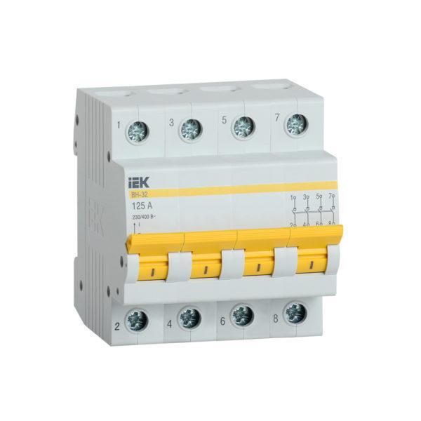 Выключатель нагрузки (мини-рубильник) ВН-32 4Р 125А IEK