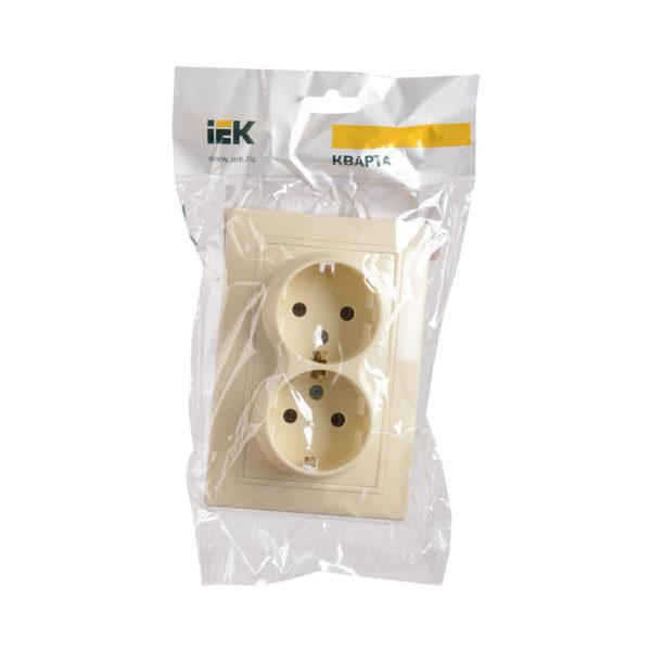 Розетка 2-местная РС12-3-Км с заземляющим контактом без защитной шторки 16А керамика КВАРТА кремовый IEK