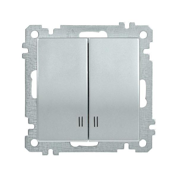 Выключатель 2-клавишный с индикацией ВС10-2-1-Б 10А BOLERO серебряный IEK