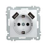 Розетка РЮш10-1-Б с заземляющим контактом с защитной шторкой 16А USBх2 2,1A BOLERO серебряный IEK