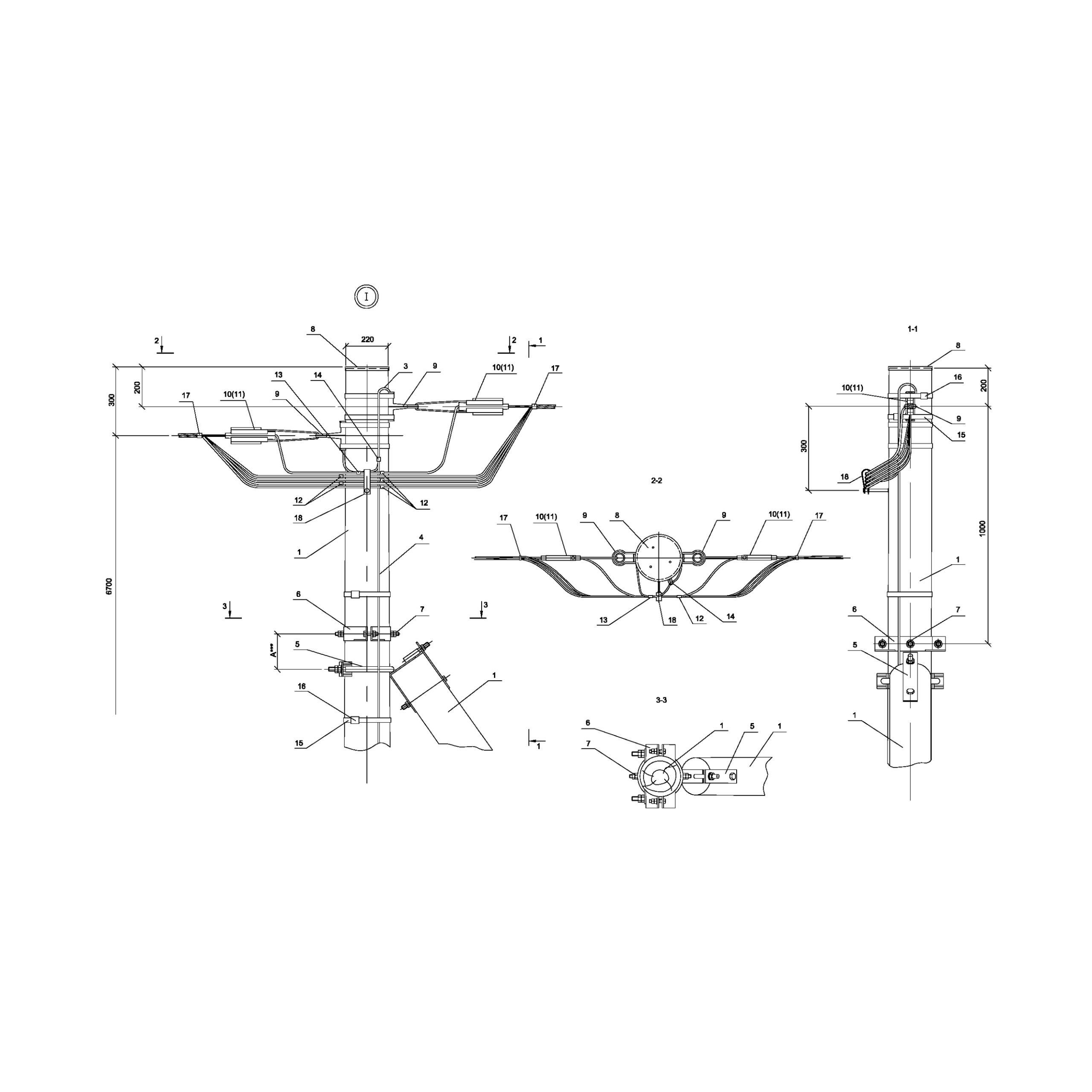 Опора Ад151 деревянная анкерная концевая одноцепная IEK