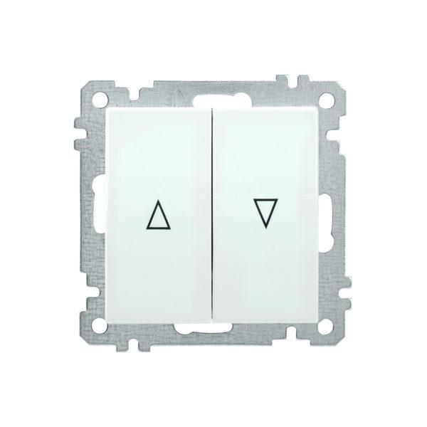 Выключатель 2-клавишный жалюзи ВС10-1-5-Б BOLERO белый IEK