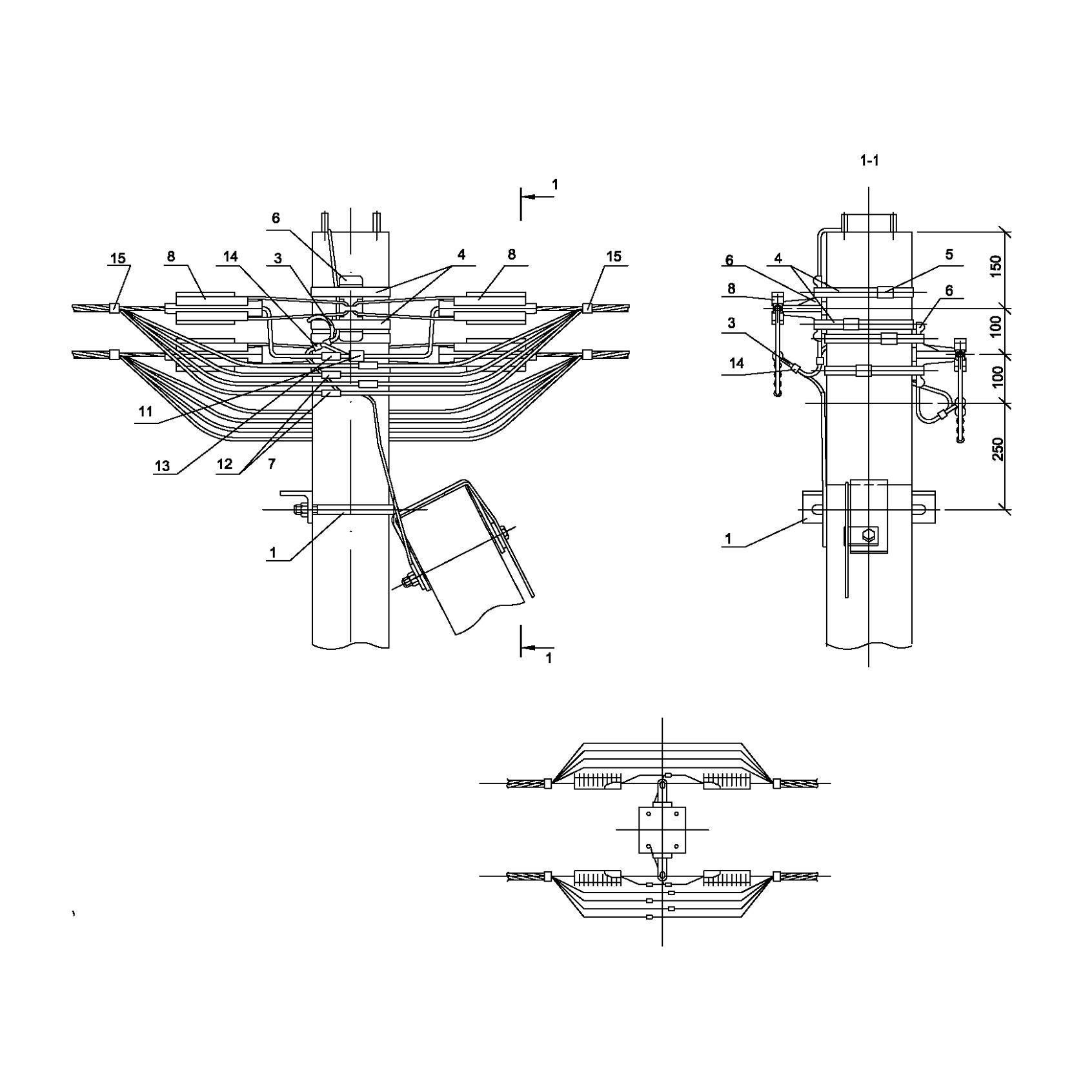 Опора А34 ж/б анкерная концевая двухцепная без ответвления IEK