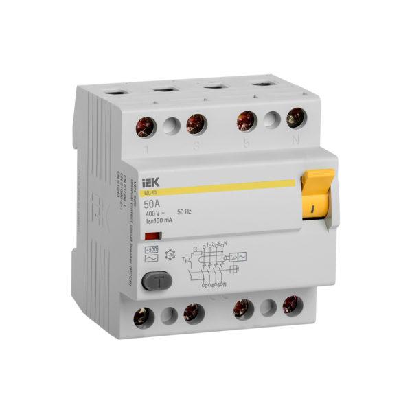 Выключатель дифференциальный (УЗО) ВД1-63 4Р 50А 100мА IEK