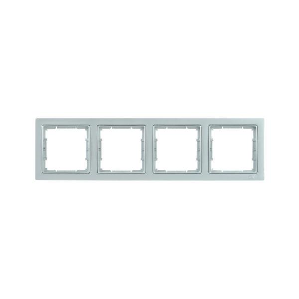 Рамка 4-местная квадратная РУ-4-БС BOLERO Q1 серебряный IEK