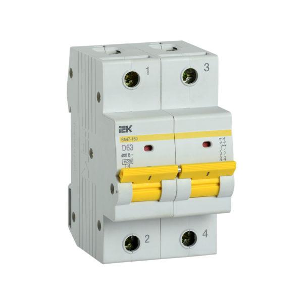 Выключатель автоматический ВА47-150 2Р 63А 15кА D IEK