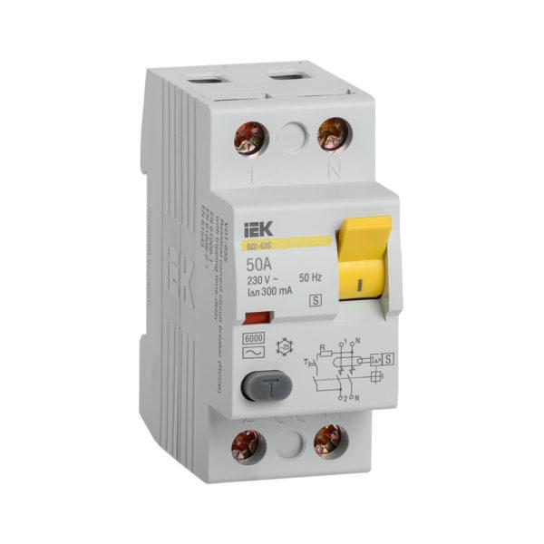 Выключатель дифференциальный (УЗО) ВД1-63S 2Р 50А 300мА IEK