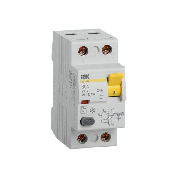 Выключатель дифференциальный (УЗО) ВД1-63S 2Р 80А 100мА IEK