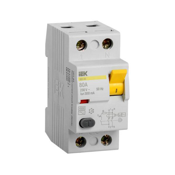 Выключатель дифференциальный (УЗО) ВД1-63 2Р 80А 300мА IEK