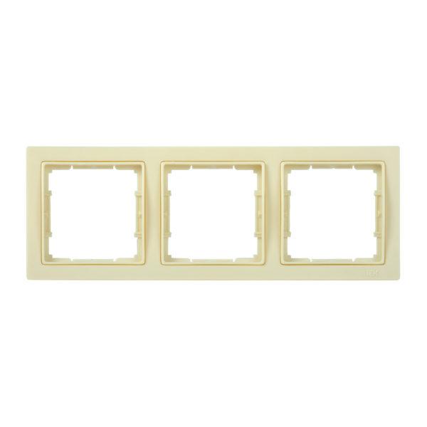 Рамка 3-местная квадратная РУ-3-БК BOLERO Q1 кремовый IEK